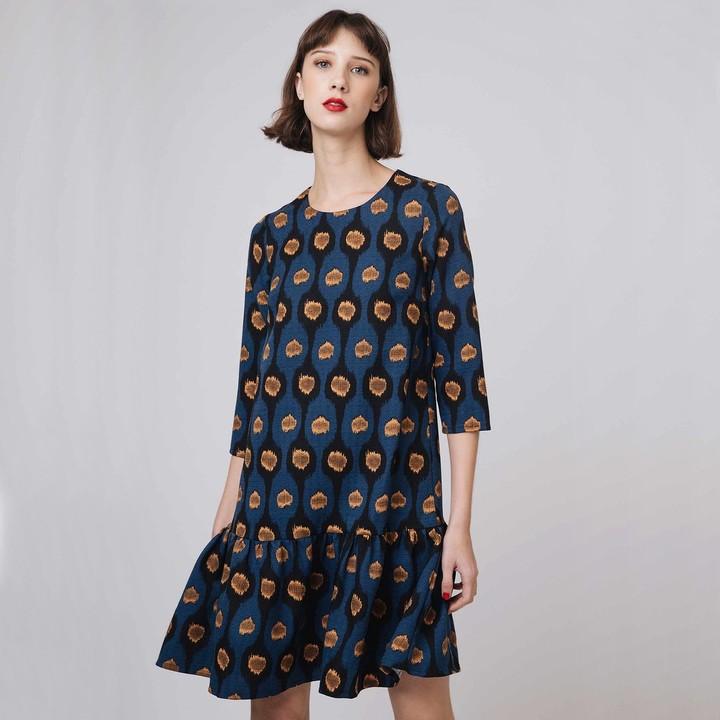 COMPANIA FANTASTICA Short Flared Tribal Print Dress with Long Sleeves