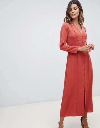 Asos Design DESIGN button through maxi dress with long sleeves