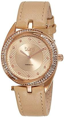 Burgi Women's Crystal and Diamond-Accented Watch with Gold Dial Analogue Display and Beige Leather Strap BUR122RG