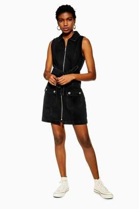 Topshop Womens Tall Black Horn Button Denim Collar Dress - Washed Black