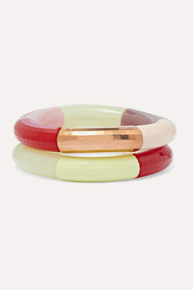 Kyoto Tango - Barricade Party And Elves' Hill Set Of Two Resin And Copper-plated Bangles - Cream
