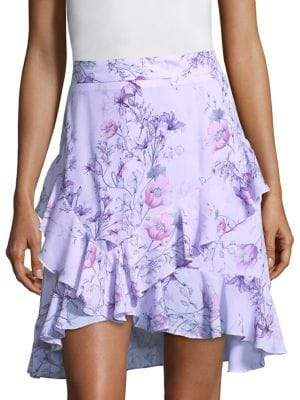 Prose & Poetry Tessie High-Waist Orchid-Print Skirt
