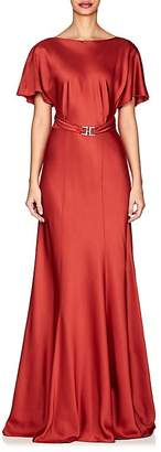 Alberta Ferretti Women's Belted Satin Gown