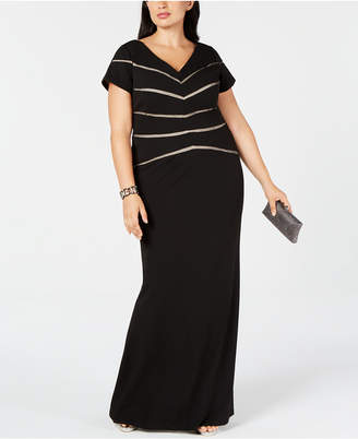 Adrianna Papell Plus Size Illusion-Detail Gown