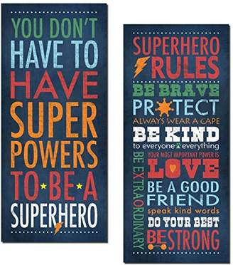 "Superhero Rules Set by Stephanie Marrott; Two 8""x18"" Prints"
