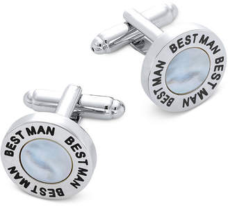 Mother of Pearl Sutton by Rhona Sutton Men Silver-Tone & Imitation Mother-of-Pearl Best Man Cufflinks