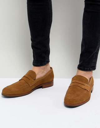 Dune Penny Loafers In Tan Suede