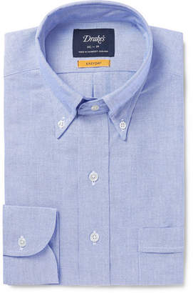Drakes Drake's - Blue Button-Down Collar Cotton Oxford Shirt - Blue