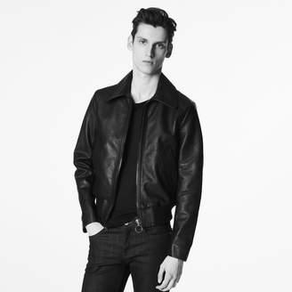 Sandro Zipped leather jacket with ribbing
