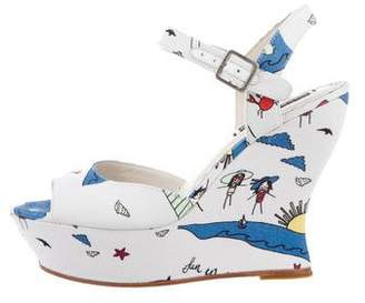 Alice + Olivia Peep-Toe Printed Wedges