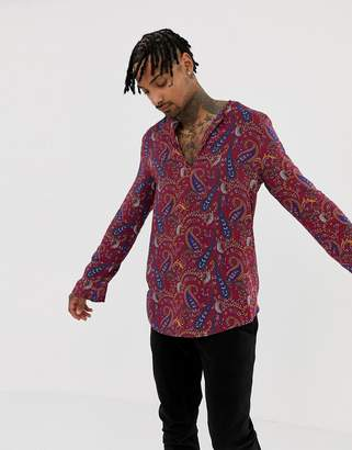 Asos DESIGN regular fit overhead shirt in paisley print