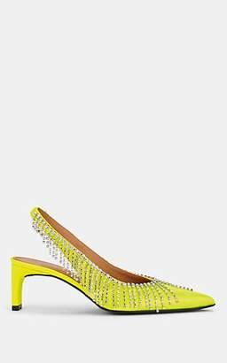 Area Women's Crystal-Fringe Lamé Slingback Pumps - Yellow