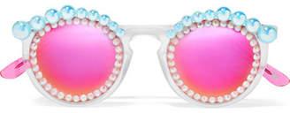 Freda Banana - Lulu Embellished Round-frame Acetate Mirrored Sunglasses - Pink