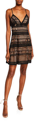 Astr Crochet Strappy Lace-Up A-Line Dress
