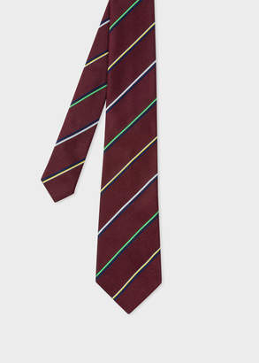 Paul Smith Men's Burgundy Thin Diagonal Stripe Silk Tie