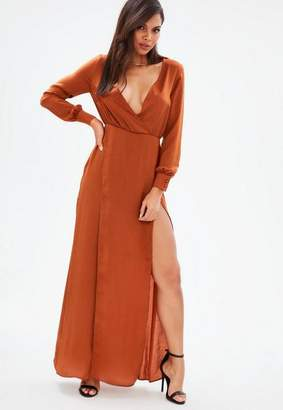 Missguided Brown Long Sleeve Plunge Wrap Split Maxi Dress