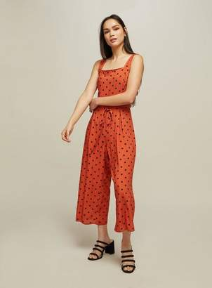 Miss Selfridge Rust spot print pinafore jumpsuit