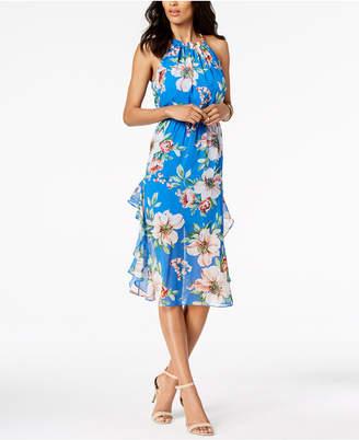 Vince Camuto Printed Ruffled Midi Dress