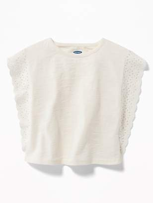 Old Navy Slub-Knit Eyelet-Lace Poncho Top for Toddler Girls