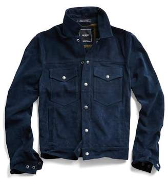 Todd Snyder Italian Suede Snap Front Dylan Jacket in Navy