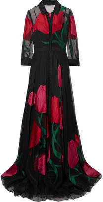 Carolina Herrera Fil Coupé Organza Gown - Black