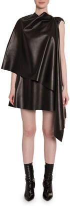 Valentino Leather Cape Dress