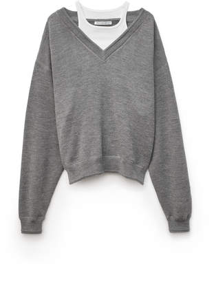 Alexander Wang Alexanderwang BI-LAYER V-NECK SWEATER