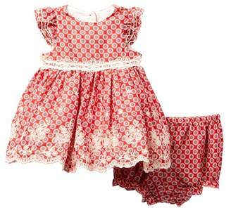 Laura Ashley Embroidered Hem Red Print Dress (Baby Girls)