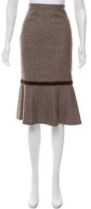 Luisa Beccaria Knee-Length Wool Skirt