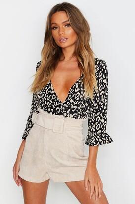 boohoo Leopard Ruffle Sleeve Bodysuit