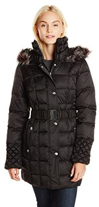 Betsey Johnson Women's Puffer Coat with Faux-Fur Hood $248 thestylecure.com