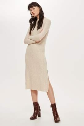 307c43a4cb1 Topshop Womens Ribbed High Neck Midi Dress - Cream