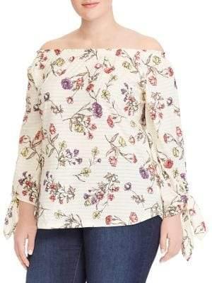 Lauren Ralph Lauren Plus Floral Off-the-Shoulder Blouse
