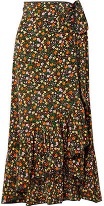 Ganni Joycedale Ruffled Floral-print Silk-crepe Wrap Skirt - Orange