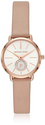 Michael Kors Petite Portia Rose Gold Tone And Blush Leather Watch