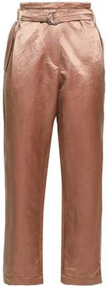 Brunello Cucinelli Cropped Belted Shantung Straight-leg Pants