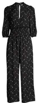 Rebecca Taylor Women's Alisia Floral Smocked Cropped Jumpsuit - Black Combo - Size 8