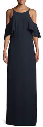 Halston H Flounce Cold-Shoulder Gown