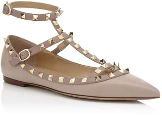 Valentino Leather Rockstud Flats