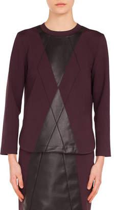 Akris Punto Crewneck Leather Argyle Front Jersey Shirt