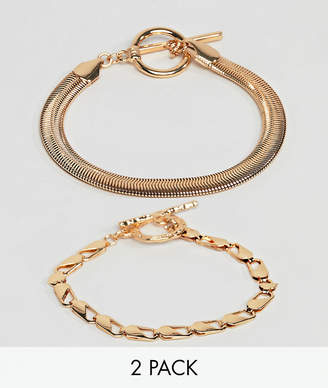 Asos Design DESIGN pack of 2 bracelets with heavyweight chain and flat rope chain gold