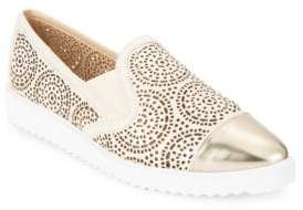 Cora Cutout Metallic Leather Slip-On Sneakers