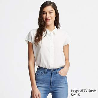 Uniqlo WOMEN Linen Blend Short Sleeve Blouse