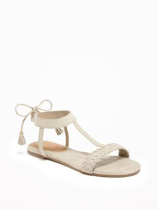 Sueded Tie-Back T-Strap Sandals for Women $26.94 thestylecure.com