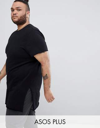 Asos DESIGN Plus super longline t-shirt with extra long side splits and raw edges in black
