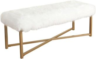 HomePop Faux-Fur Bench