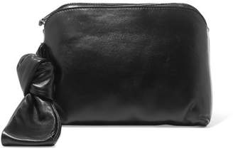 The Row Wristlet Leather Clutch - Black