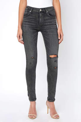 A Gold E Agolde AGOLDE Sophie Silence Grey Rips Skinny Jean
