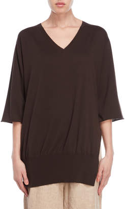 Lamberto Losani Three-Quarter Sleeve V-Neck Sweater