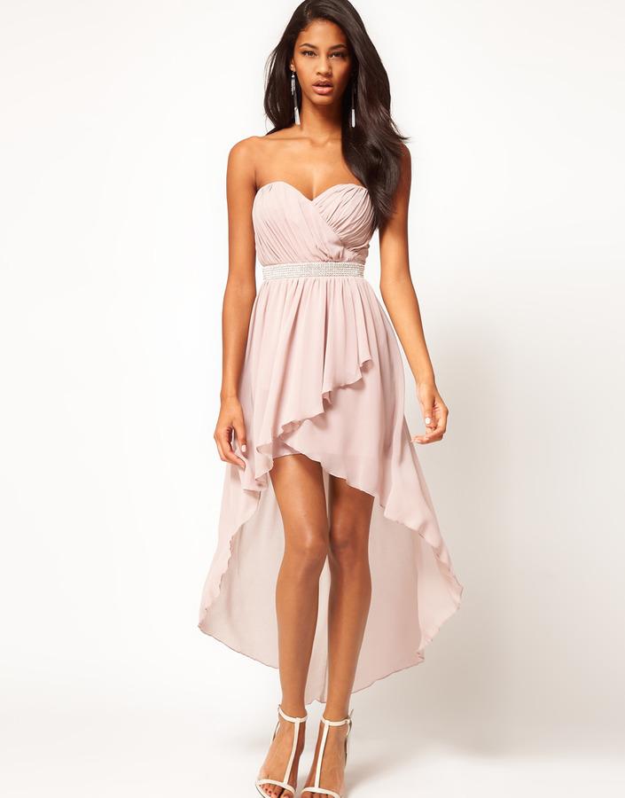 Lipsy Dip Hem Dress With Jewelled Waistband